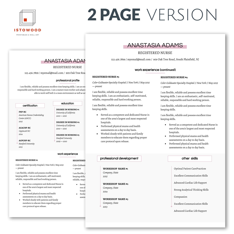 Resume Template Nurse Resume Template Nursing Resume Rn Etsy Nursing Resume Template Resume Template Examples Downloadable Resume Template