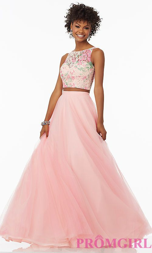 Image of rosette pink two-piece long prom dress by Mori Lee. Style ...