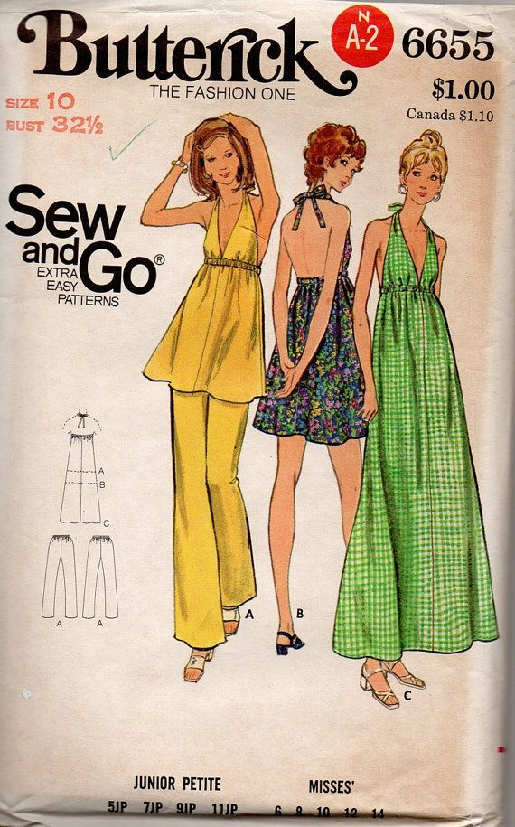 Retro Disco Style Halter Maxi Dress Butterick 70s Sewing Pattern ...