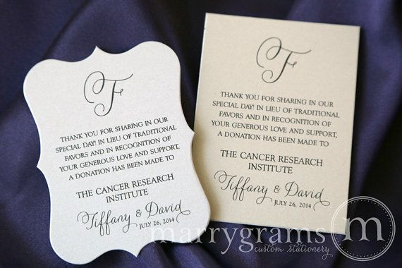 Wedding favor donation cards in lieu of favors reception place wedding favor donation cards in lieu of favors reception place card custom donation table stopboris Image collections