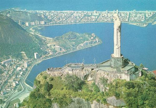 Brazil - Rio De Janeiro, Aerial View, Corcovado, Lake & Christ Redeemer by 9teen87's Postcards, via Flickr
