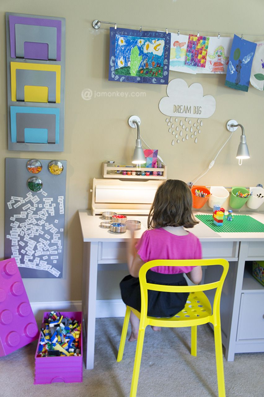 Kid S Homework And Creativity Station Kids Study Table Study Table Designs Study Table