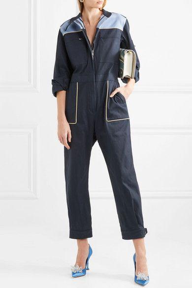 38c092ed0df Miu Miu - Color-block Cotton-blend Jumpsuit - Navy