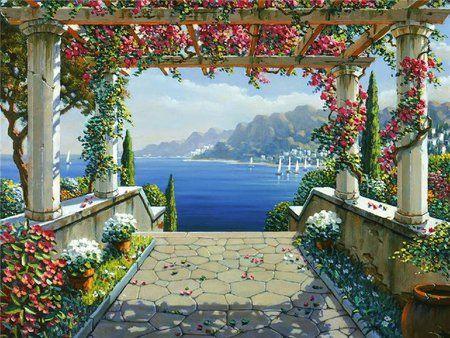 Terrace To The Sea Desktop Nexus Wallpapers Mediterranean Paintings Landscape Art Wall Murals Painted