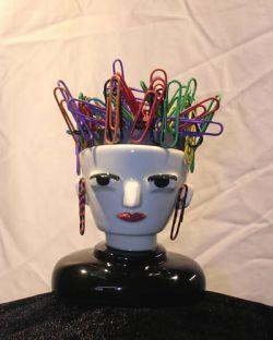 Female Ceramic Magnetic Paper Clip Head Holder | Cute desk things ...
