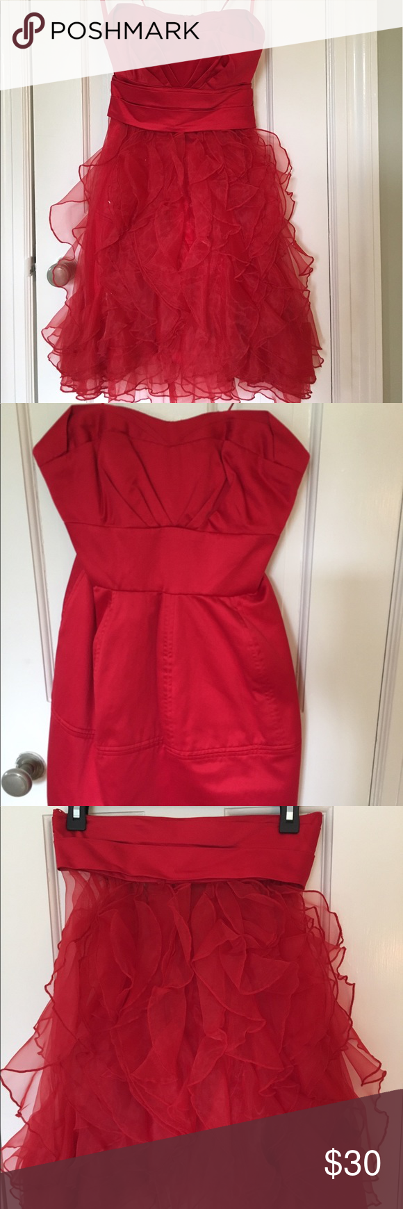 Collectors strapless red dress w removable skirt strapless red