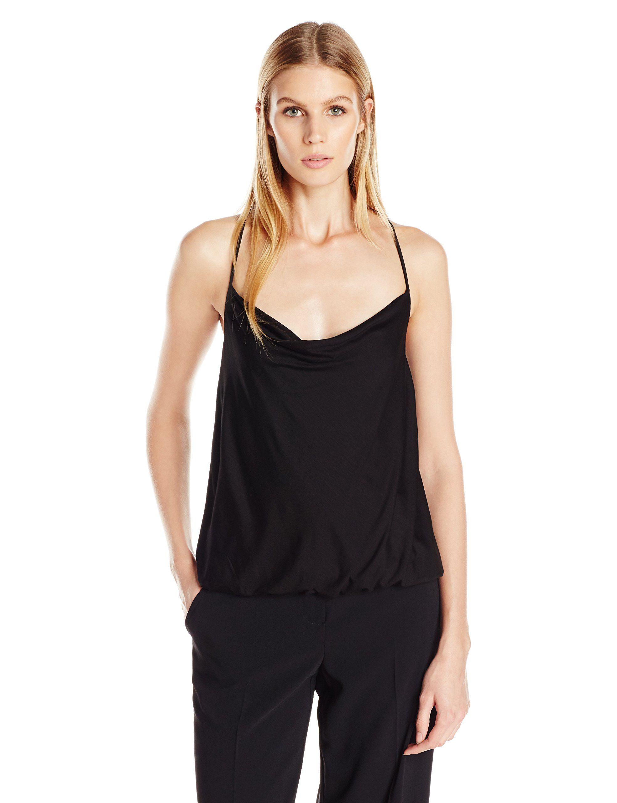 Trina Turk Women's Bela Must Have Jersey Cami, Black, X-Small. Cowl neck. Sleeveless. Elastic hem. Criss cross straps.