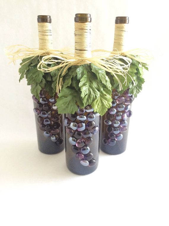 Wine decor set of 3 wine bottles with grapes by for How to decorate a wine bottle for a gift