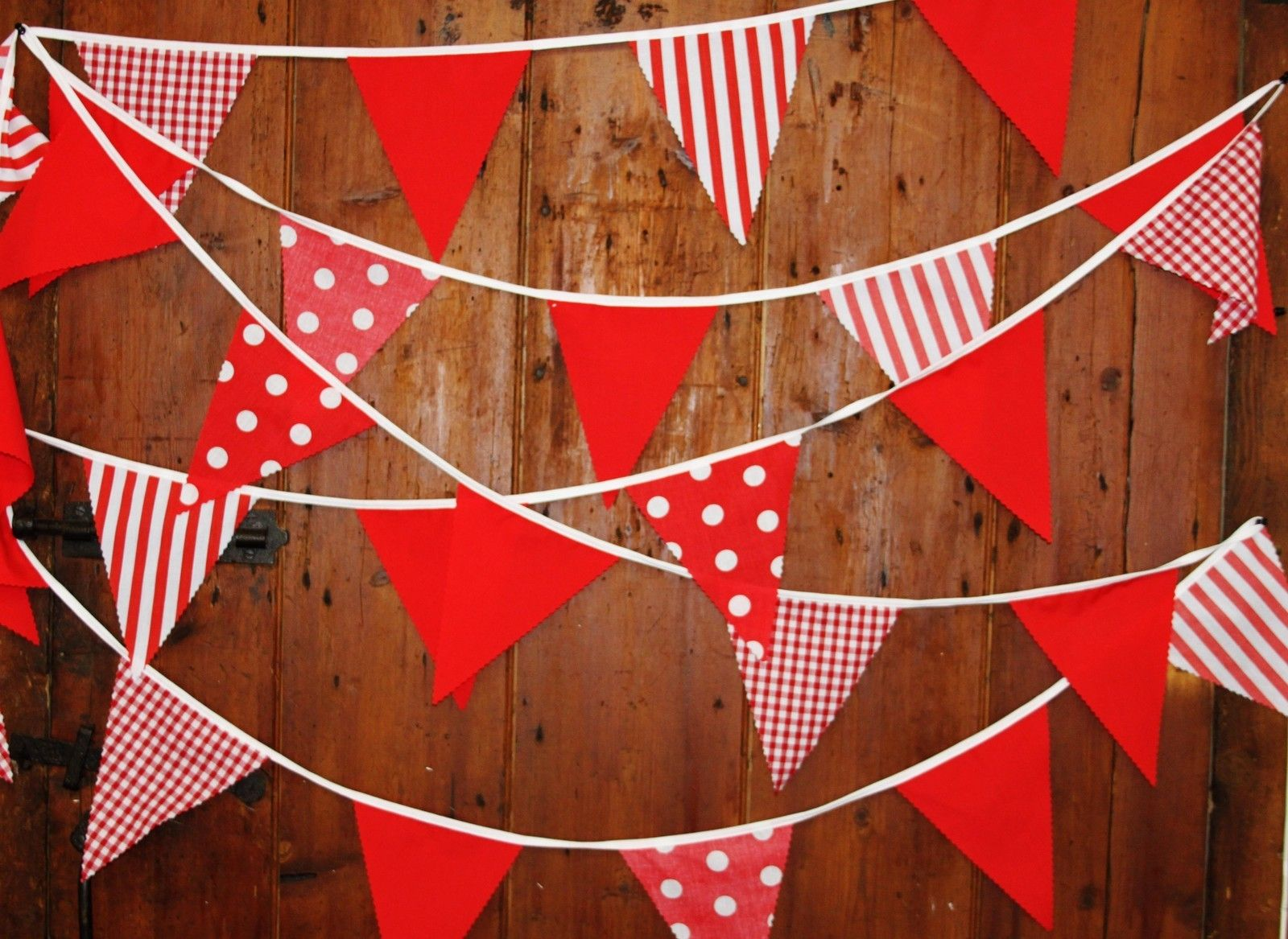 Red fabric bunting, spots, stripes, gingham, 38 flags, 10 mt baby ...