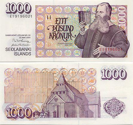 Iceland 1000 Kronur 1986 1994 Bishop Of Skalholt Brynjolfur