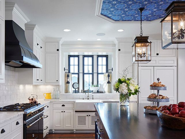 This French Country Kitchen Is Painted In Benjamin Moore White Dove. Love  The Black Window Frames In White Trim.