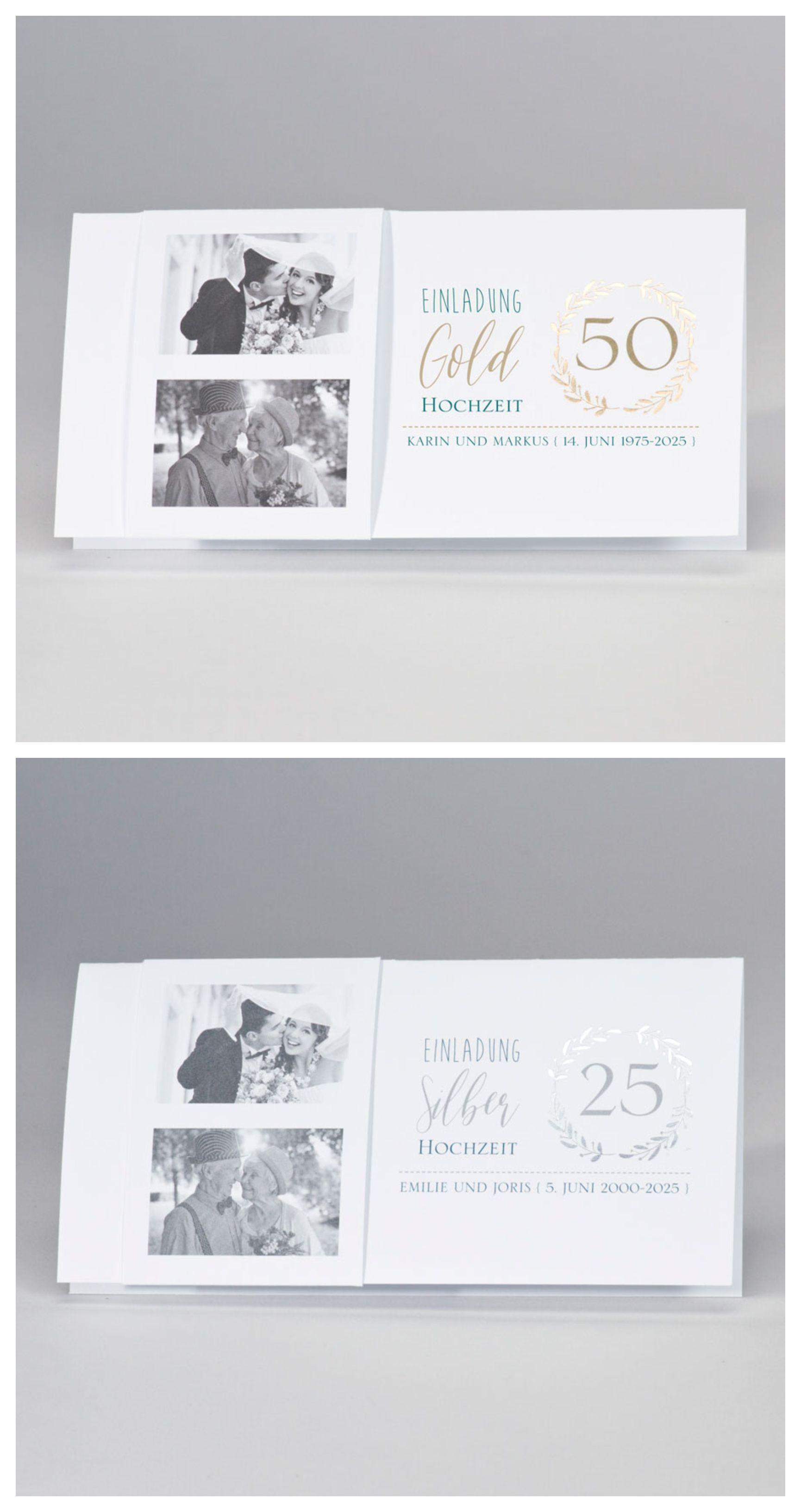 Stilvolle Einladungen Zur Goldhochzeit Oder Silberhochzeit Einladungskarten