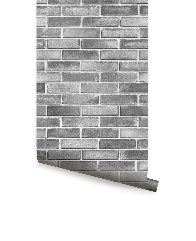 Grey Cement Brick Wallpaper Peel and Stick Brick