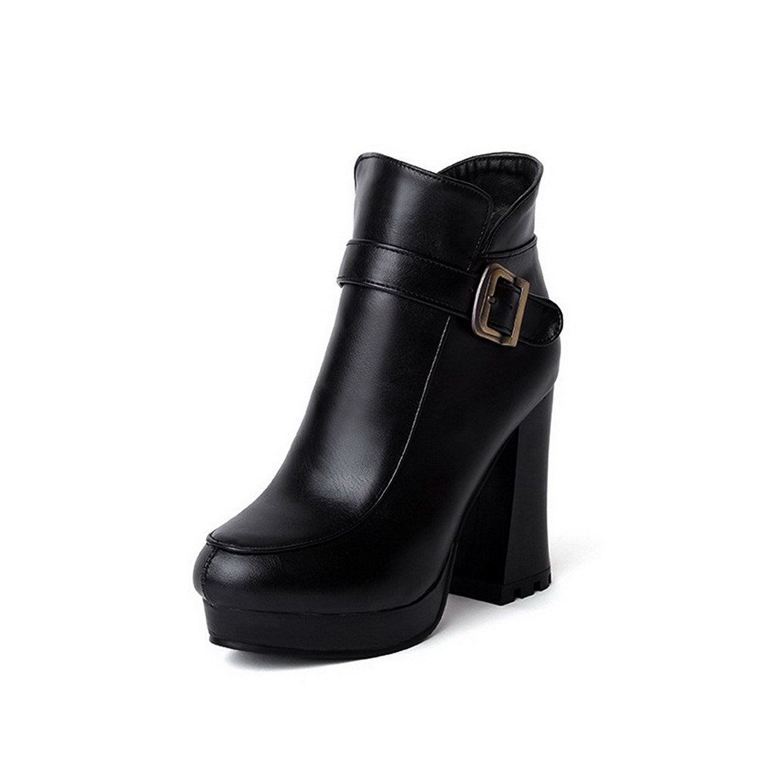 Women's Low Top Solid Zipper Round Closed Toe High Heels Boots with Metal