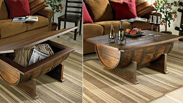 for the mancave Home Pinterest Whiskey barrel coffee table