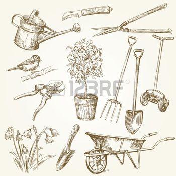 Brouette jardin outils de jardinage coloriage du potager pinterest outils de jardinage - Outils de jardinage avec images ...