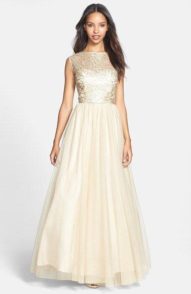 Gold/metallic dress. Still pretty simple. Aidan Mattox Tulle ...
