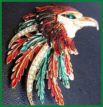 Vintage Brooch Pin Signed ART Bird Hawk w by BrightgemsTreasures, $34.50