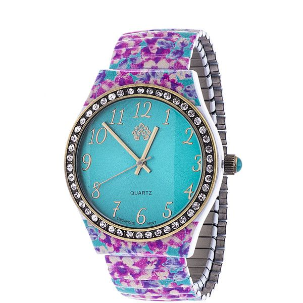 Xtreme Walflower Ladies Collection with CZ ring Case / Pink & Blue Alloy Strap Watch featuring polyvore, fashion, jewelry, watches, blue, analog watches, pink dial watches, blue jewelry, blue flower crown and dial watches