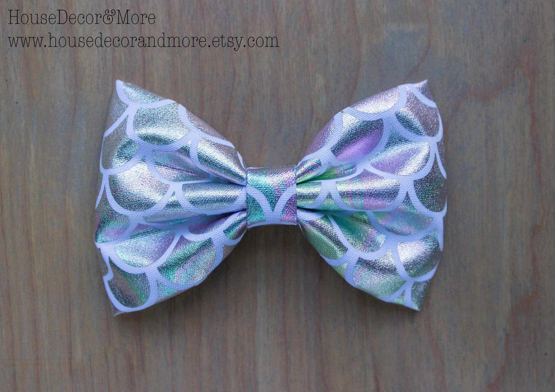 Girls Fabric Hair Bow - Mermaid Fabric Hair Bows - Toddler Fabric Hair Bows - Birthday Hair Bows