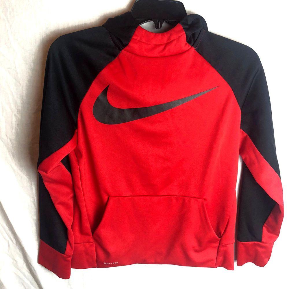 7beea070d Nike Dri-Fit Therma Swoosh Hoodie Boys Large Pullover Sweatshirt Red Black # Nike #Hoodie