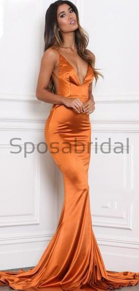 Cheap Spaghetti Straps Simple Orange V10 10 Neck Mermaid Elegant Modest Prom Dresses #modestprom
