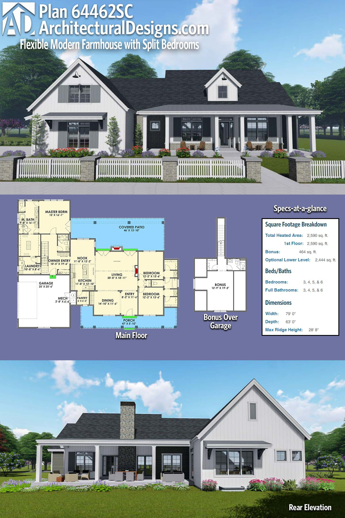 Plan 64462SC Flexible Modern Farmhouse with