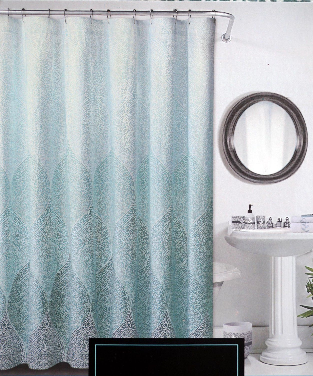Amazon.com: Cynthia Rowley Fabric Shower Curtain Stamped Ombre Teal ...