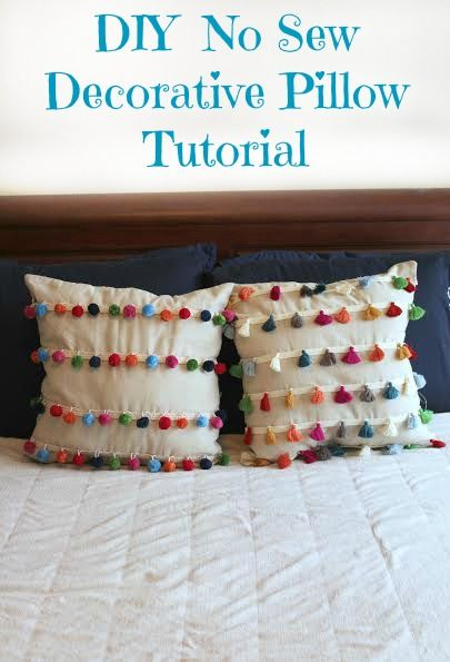 Diy No Sew Tassel And Pom Pom Decorative Pillows With Images