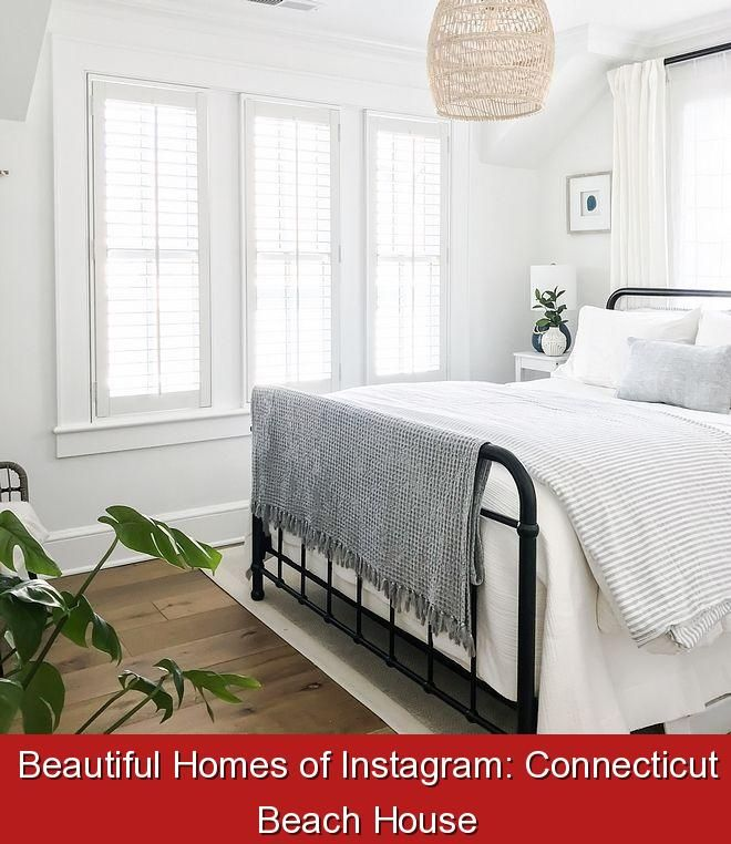 Beautiful Homes of Instagram: Connecticut Beach House {164928} #guest #room #decor #guestroomdecor Black metal bed Black matte metal bed Featuring a black metal bed and comfortable white and grey linens, this bedroom exudes a timeless and inviting feel #Blackmetalbed #Blackmattemetalbed #metalbed #bedroom