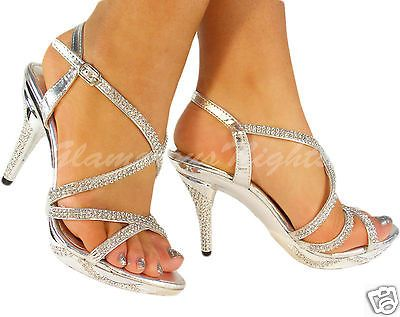 Silver Diamante Encrusted Medium Heel Platform Sandal Shoes Wedding Bridesmaids In Heels Ebay Medium Heel Shoes Prom Heels Heels