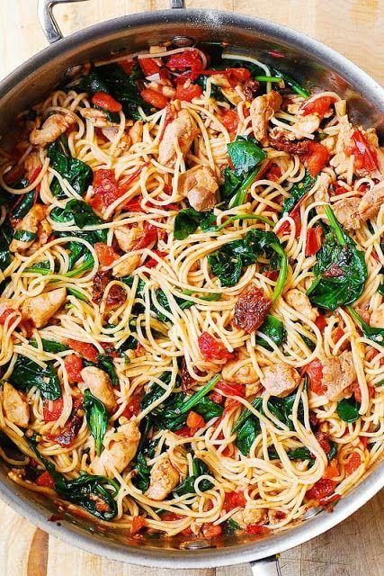 This recipe feàtures pàstà fresh tomàtoes sundried tomàtoes fresh bàsil spinàch gàrlic ànd olive oil Its &a...