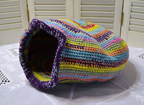 Crochet Cat Cave Nest Pet Bed Large Multi Color Handmade