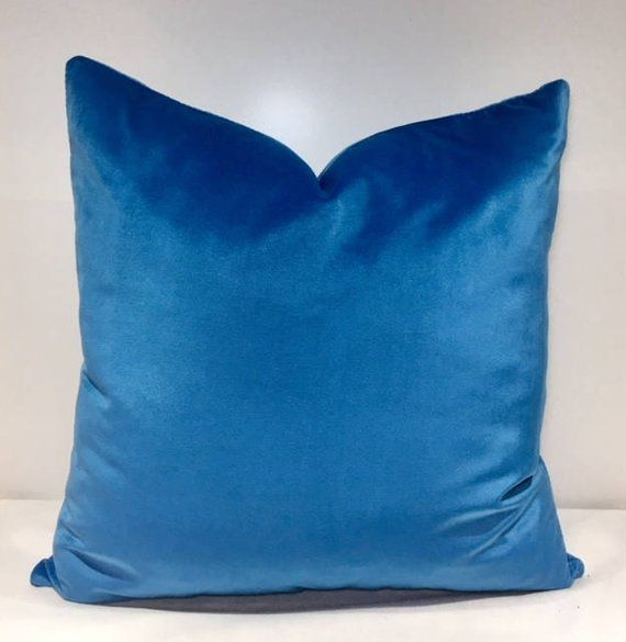 Cornflower Blue Velvet Throw Pillows 18x18 Pillow Cover Decorative Cu