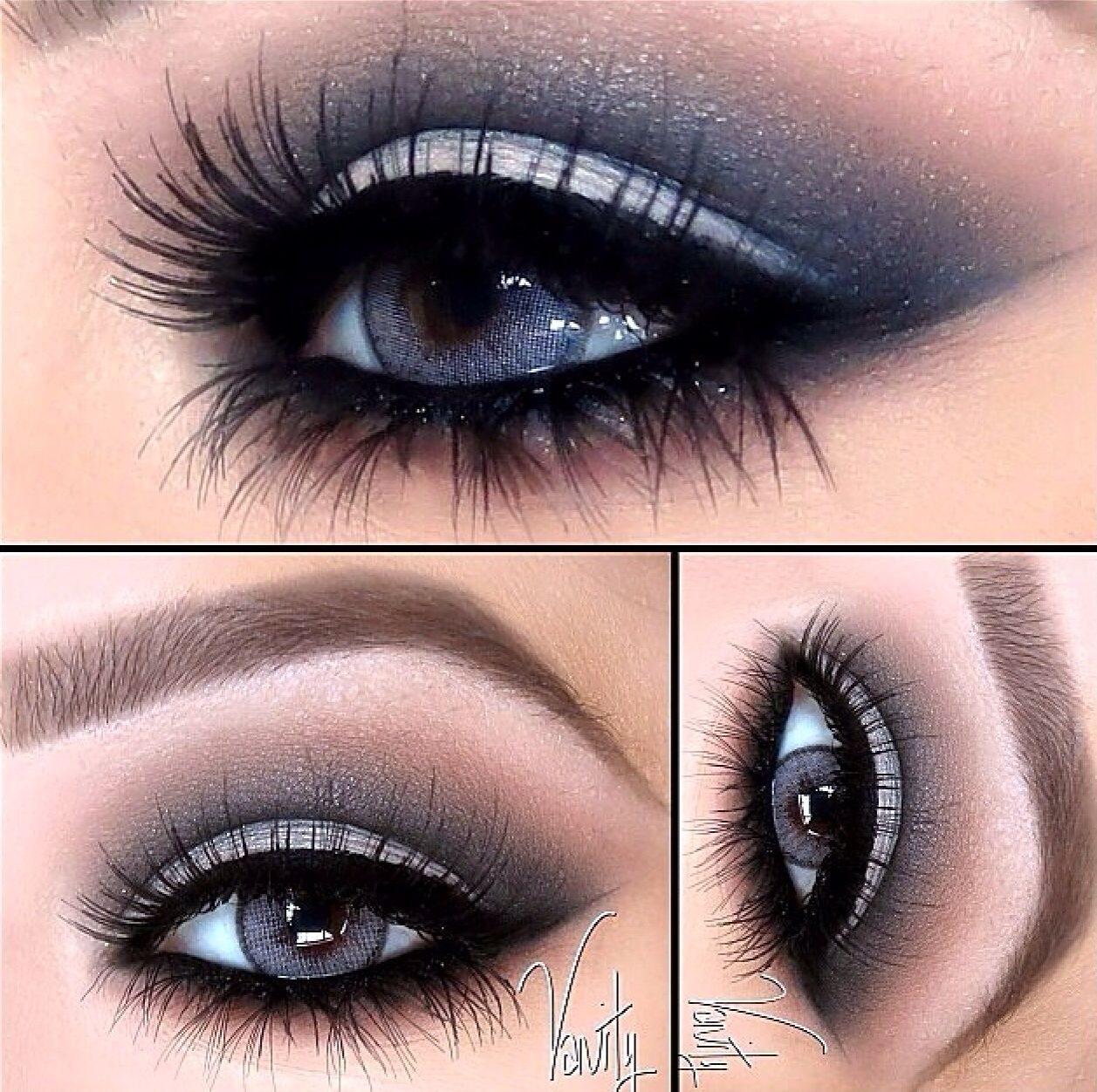 Smokey Blue Eyes With A Dramatic Set Of Eyelash Extensions Try It