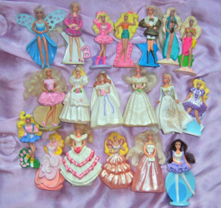 90's barbie happy meal toys from mcdonalds. Took a long time to collect these since my mom forbade McDonalds! Oh m g!! My grandma would take me to MacDonald's for these!!!!
