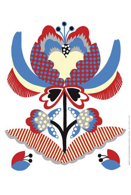 Marimekko Spring 2010 Vappu Kukka Fabric by Rinne Niinikoski