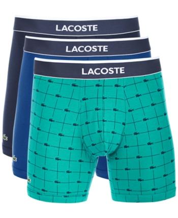 afd5559f Lacoste Men's 3-Pk. Stretch Boxer Briefs - Navy/Deep Blue/Green M ...