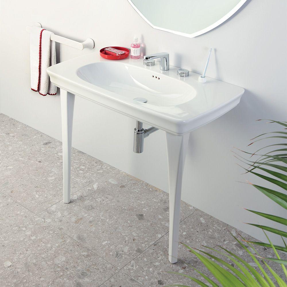 Lavandino Bagno Con Piede pin su lavabi su colonna