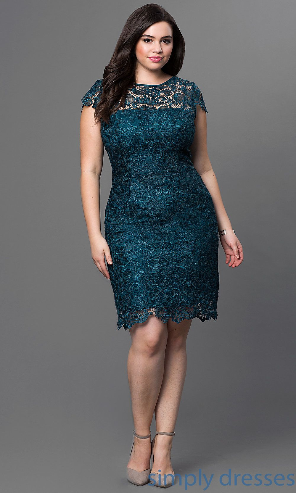 PlusSize Short Lace Party Dress with Sleeves (With images