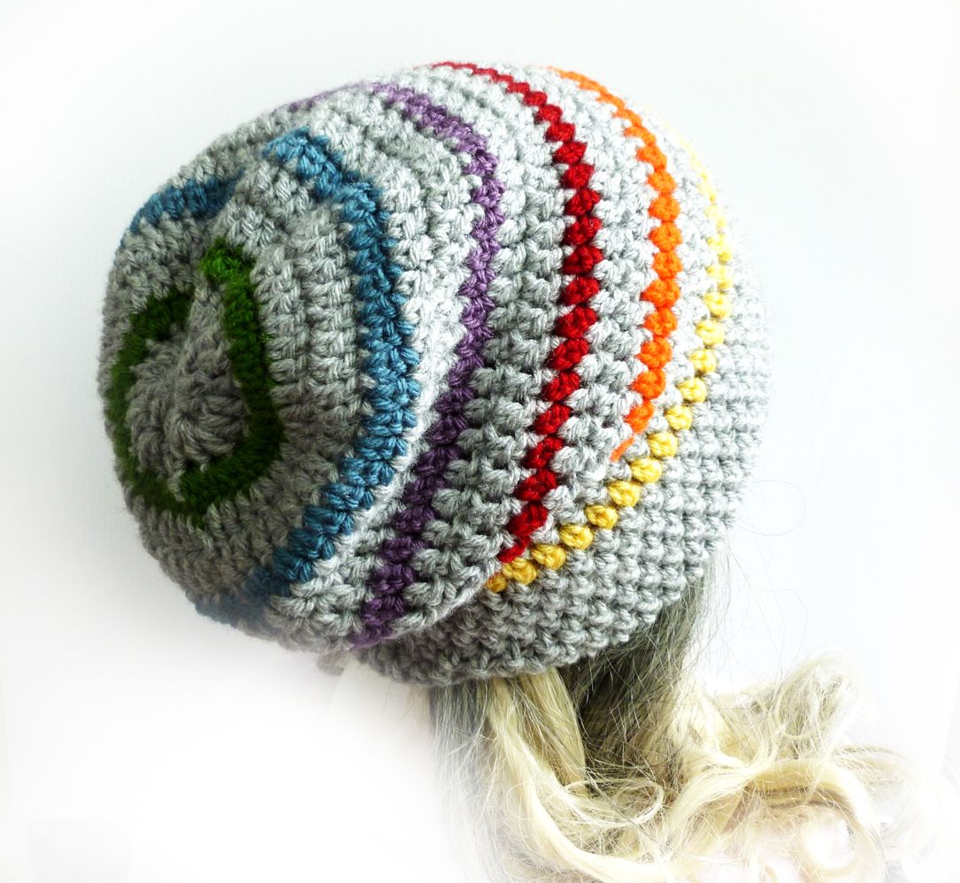 Rainbow Slouchy Beanie Crochet Slouch Hat Gray Mens Womens Girl Gay ...