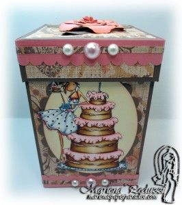 Copic box using the Stamping Bella - Biance Loves Her Big Cake stamp. Made by Marlena