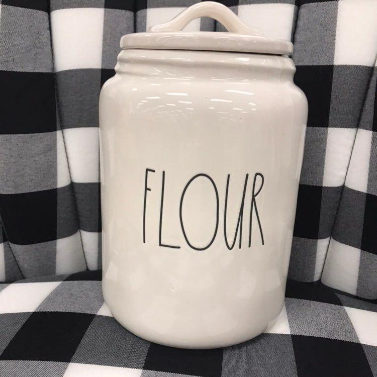 New Rae Dunn Flour Canister This Is The Large Canister Made Of Ceramic 13 9 X10x8 Flour Canister Rae Dunn Mason Jar Mug