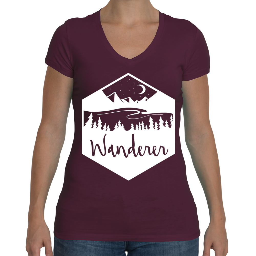 New T-shirt style. Ladies V-necks Wanderer Graphic in white on Plum colored Tee
