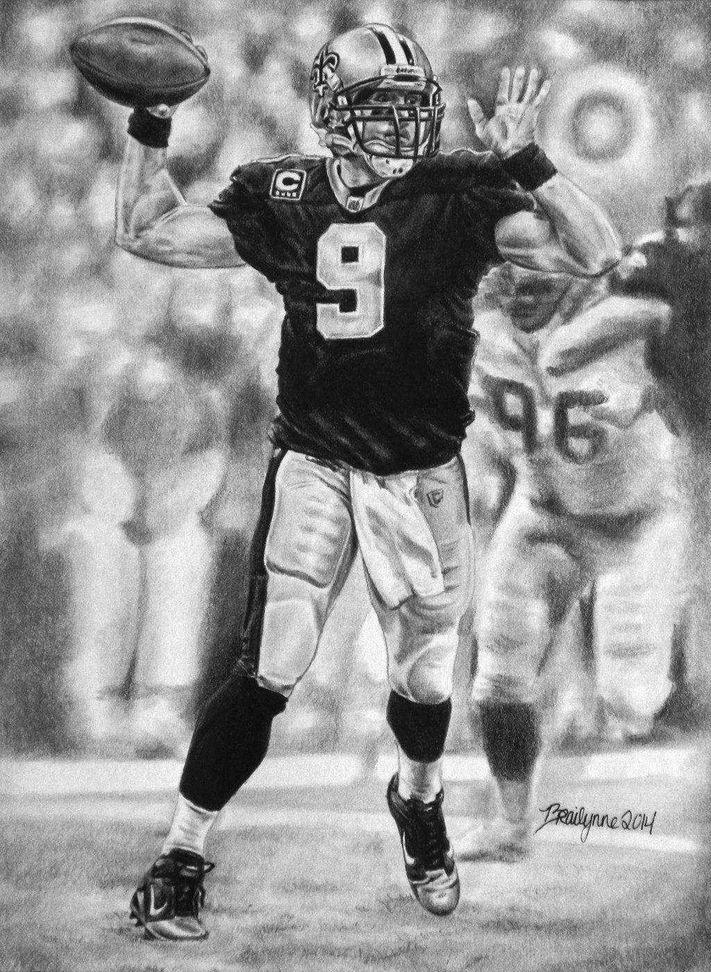 Graphite portrait of Drew Brees, QB for the New Orleans Saints ...