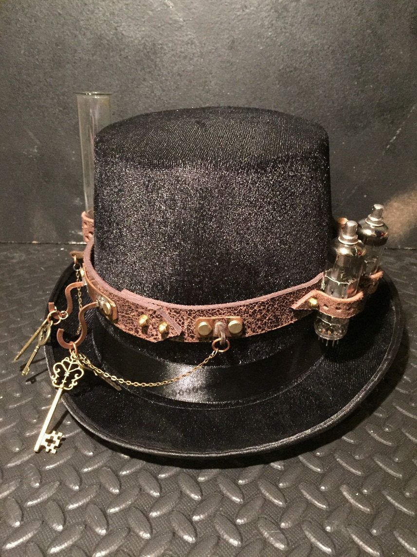 Steampunk Top Hat, Distressed Leather Band With Mini Apothecary Jars ...