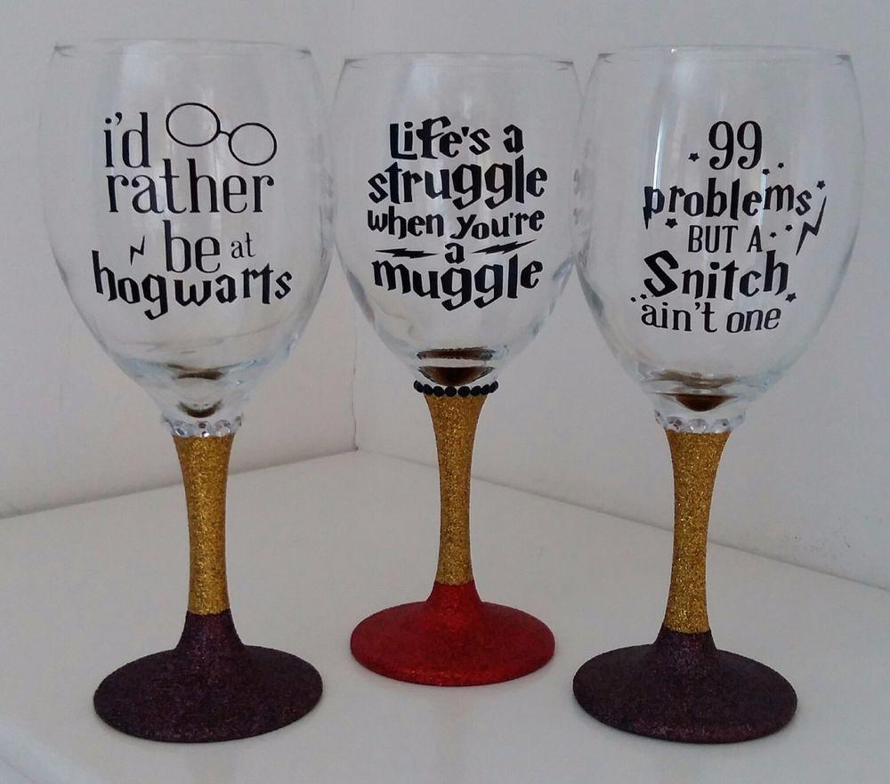 Harry Potter Dumbledore Gryffindor Muggles Glitter Wine Glass In Home Furniture Diy Celebrations Diy Wine Glass Harry Potter Wine Glasses Diy Wine Glasses