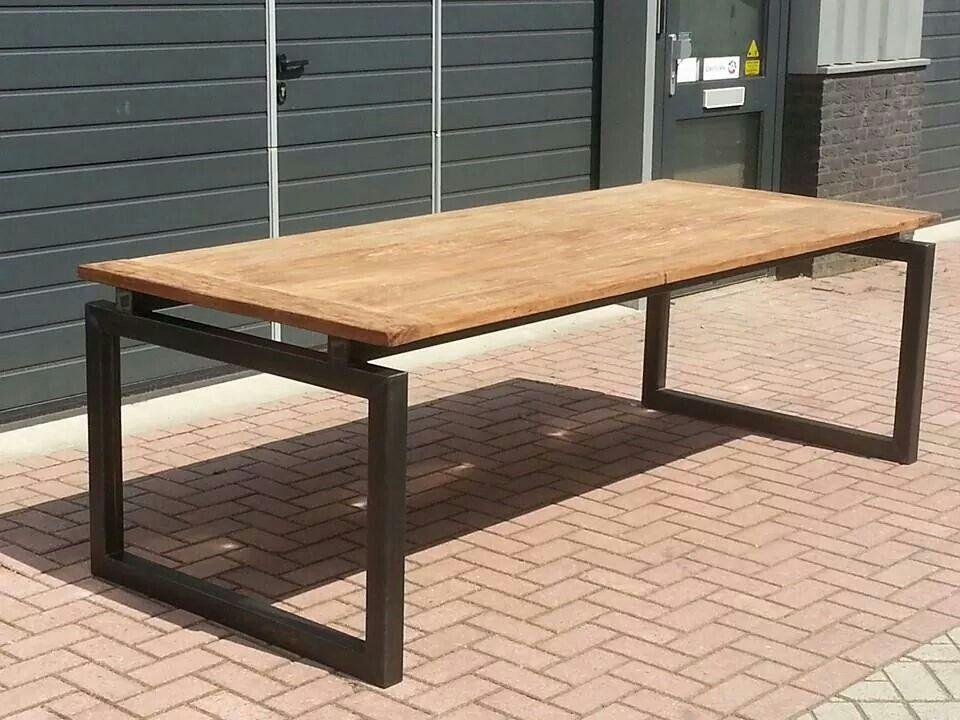 Tafel Onderstel Metaal : Blauwstaal tafel onderstel met teak blad. leverbaar in diverse
