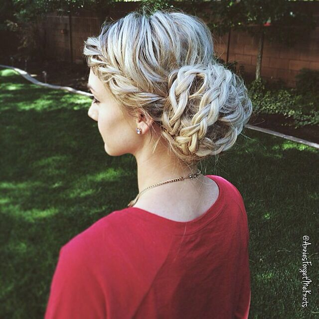French fishtail braid into a braided bun
