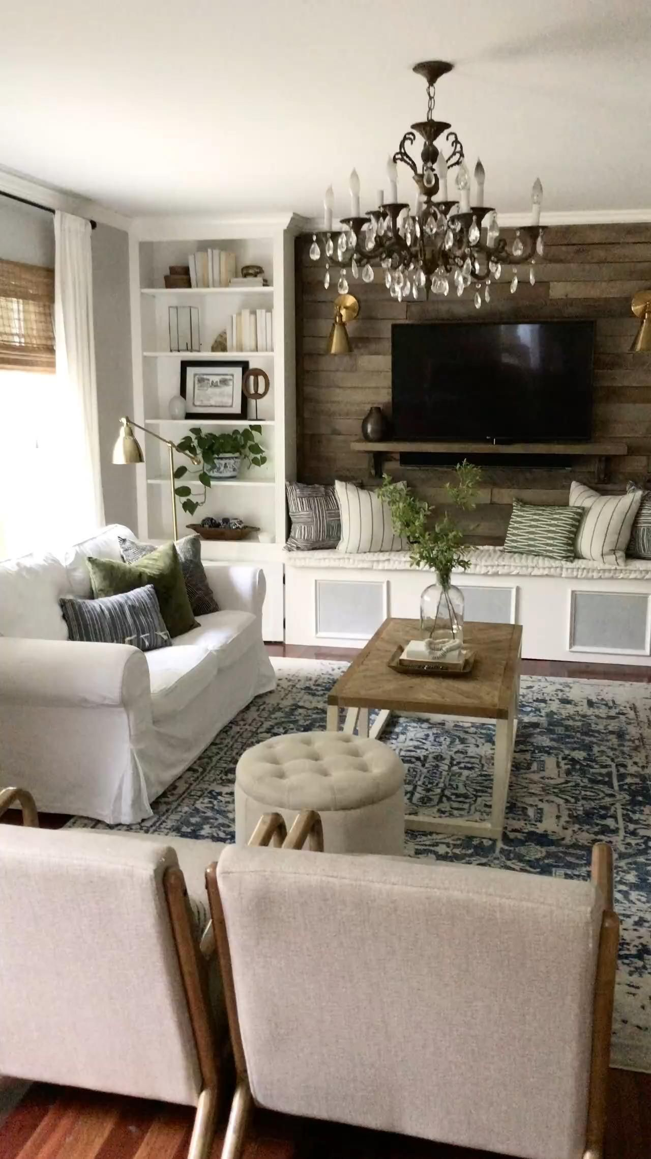 Photo of Rustic Traditional Living Room with Blue and Green